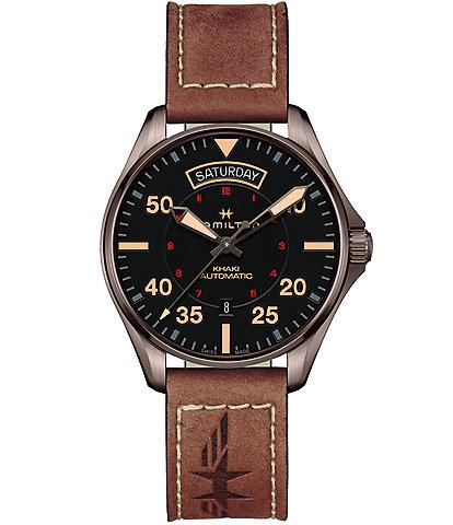 Hamilton Khaki Aviation Day Date Auto Leather Watch
