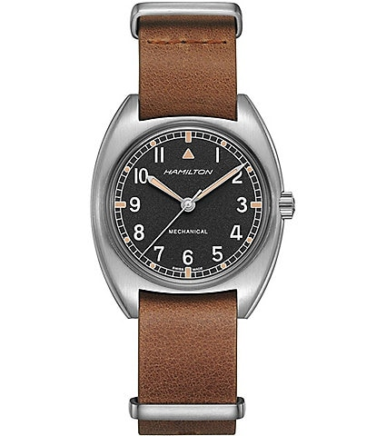 Hamilton Khaki Aviation Pilot Pioneer Mechanical Leather Strap Watch