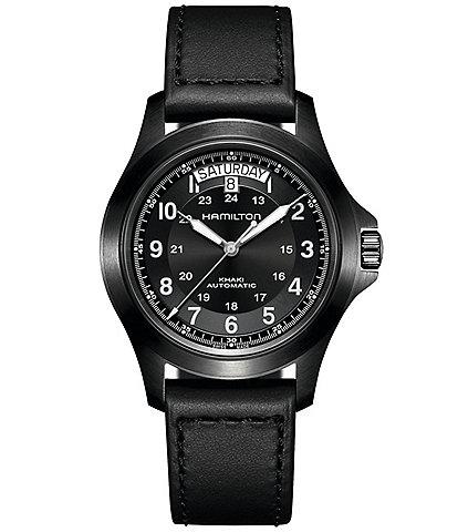 Hamilton Khaki Field King Automatic Black Leather Strap Watch