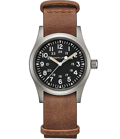 Hamilton Khaki Field Mechanical Leather Strap Watch