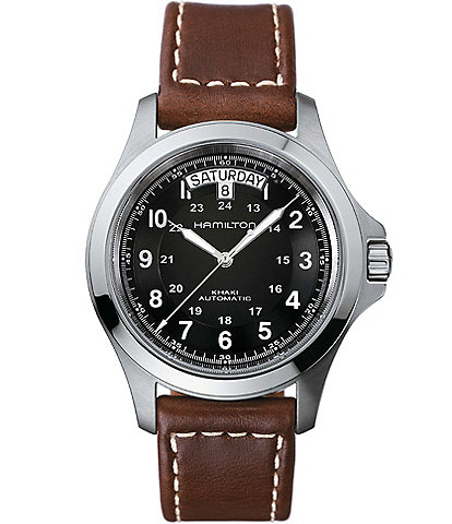 Hamilton Khaki King Automatic Day & Date Leather-Strap Watch