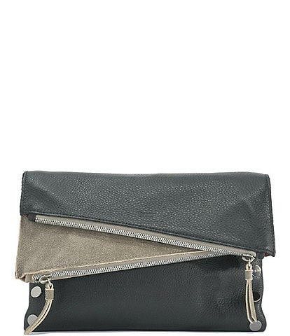 Hammitt Dillon 6-Way Fold Flap Snap Colorblock Medium Studded Pebbled Leather Crossbody Bag
