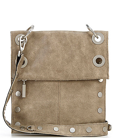 Hammitt Montana Suede Brushed Studded Leather Medium Fold Zip Crossbody Bag
