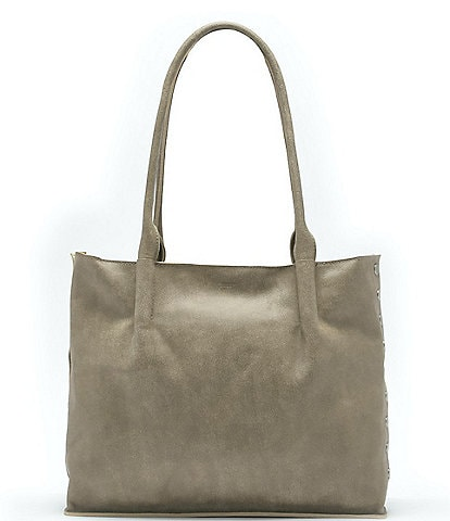Hammitt Oliver Zip Suede Brushed Studded Leather Tote Bag