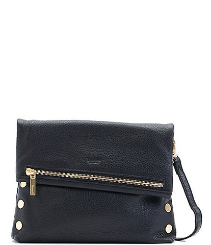 Hammitt VIP Studded Leather Fold-Over Zip Flap Medium Crossbody Bag