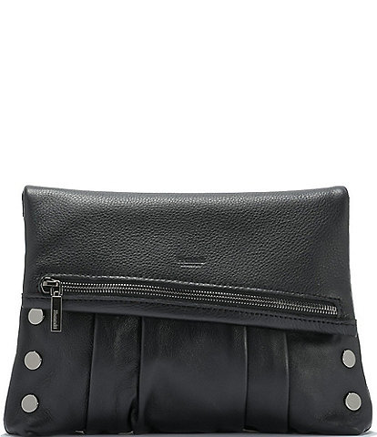 Hammitt VIP Studded Leather Fold-Over Zip Flap Medium Blackfold Crossbody Bag