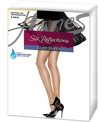Hanes Silk Reflections Control Top Reinforced Toe 6 Pack Silky Sheer Hosiery
