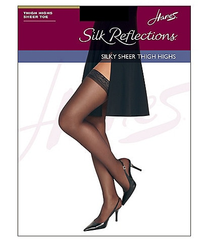 29d19e892 Hanes Silk Reflections Silky Sheer Sandalfoot Thigh Highs