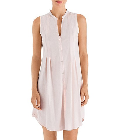 Hanro Cotton Deluxe Button-Front Sleeveless Nightgown