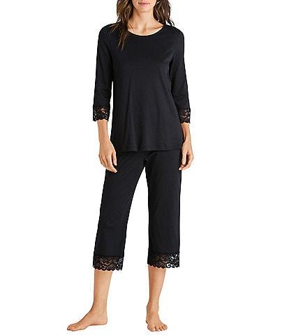 Hanro Moments Jewel Neck 3/4 Sleeve Cropped Lace Trim Pajama Set