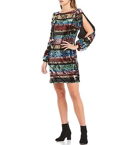 Harlyn Long Cold Shoulder Sleeve Striped Sequin Sheath Dress