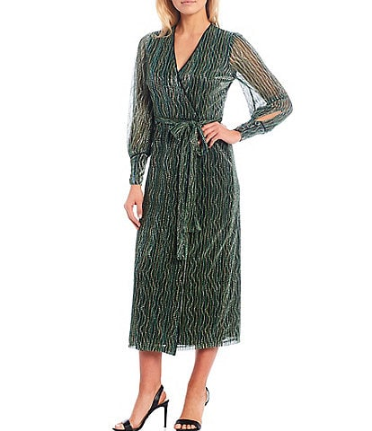 Harlyn Metallic Knit Long Sleeve Wrap Midi Dress
