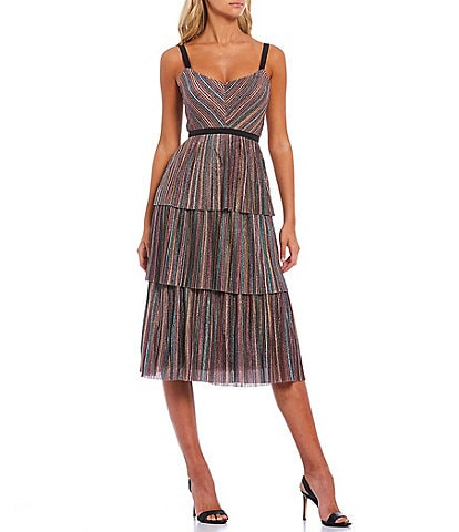 Harlyn Metallic Knit Stripe V-Neck Tiered Hem Midi Dress