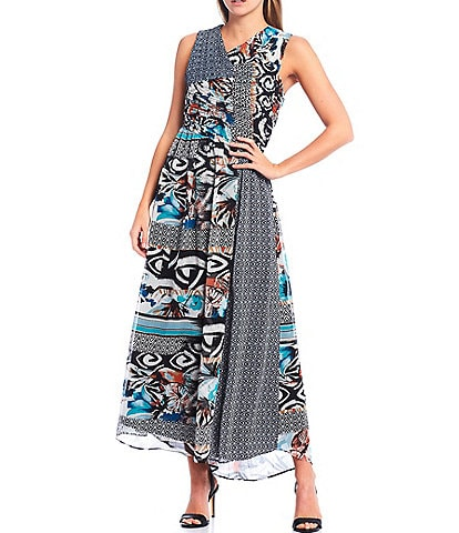Harlyn Mixed Print Crinkle Yoryu Sleeveless Maxi Dress