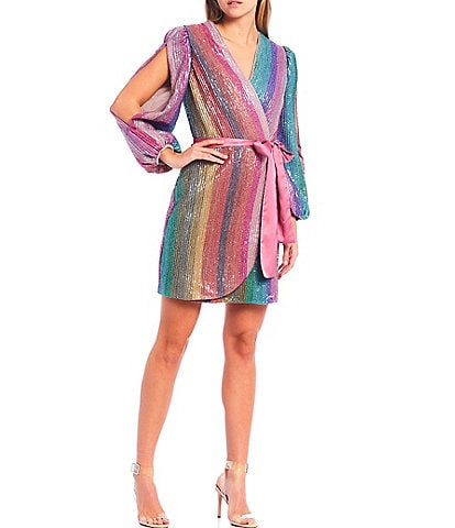 Harlyn Sequin Rainbow Stripe Surplice V-Neck Wrap Dress