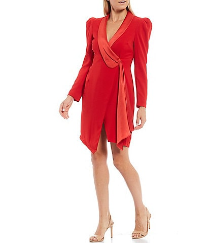 Harlyn Surplice Plunge V-Neck Satin Lapel Trim Puff Sleeve Crepe Wrap Dress
