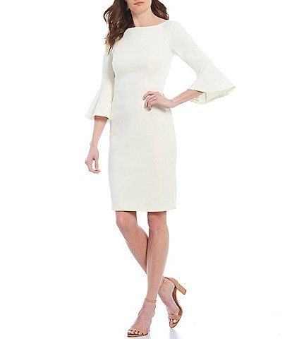 Harper Rose Bell Sleeve Scuba Crepe Sheath Dress