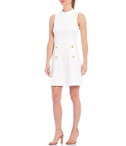 Harper Rose Mock Neck Sleeveless Button Front Crepe Shift Dress