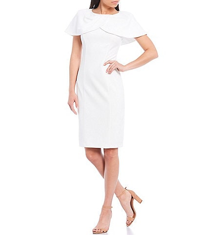 Harper Rose Scuba Crepe Capelet Sheath Dress