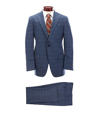 Hart Schaffner Marx Classic Fit Blue Plaid Flat Front Wool Suit