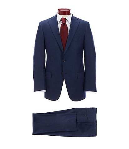 Hart Schaffner Marx Classic Fit Blue Solid Wool Suit