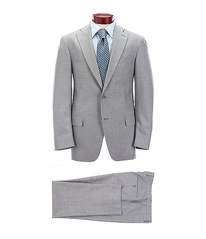Hart Schaffner Marx Classic Fit Grey Solid Wool Blend Suit