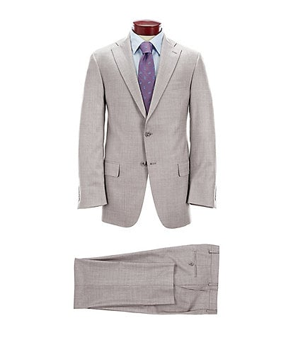 Hart Schaffner Marx Classic Fit Pleated Grey Solid Wool Suit