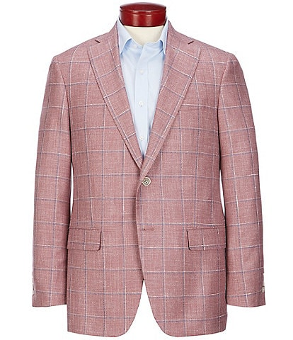 Hart Schaffner Marx Classic Fit Red Plaid Wool Blend Sportcoat