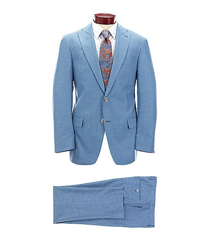 Hart Schaffner Marx Classic Fit Solid Blue Wool Blend Suit