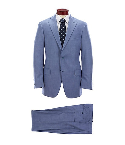 Hart Schaffner Marx Classic Fit Pleated Solid Blue Wool Suit