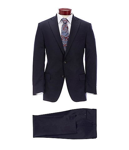 Hart Schaffner Marx Classic Fit Solid Navy Wool Blend Suit