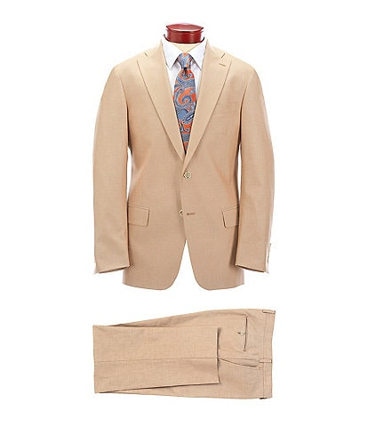 Hart Schaffner Marx Classic Fit Solid Tan Cotton Blend Suit