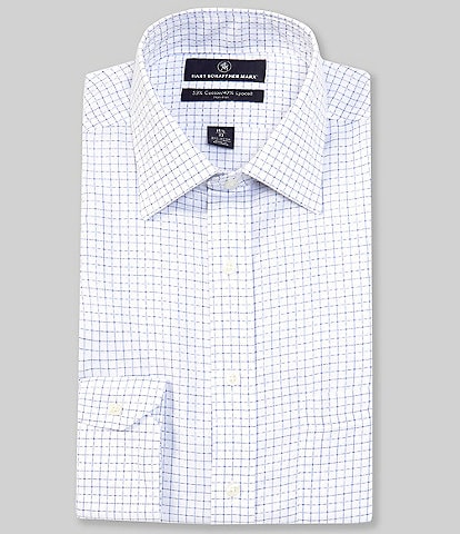 Hart Schaffner Marx Classic Fit Spread Collar Graphic Checked Dress Shirt