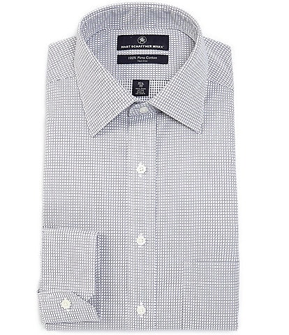 Hart Schaffner Marx Non-Iron Classic Fit Spread Collar Grid Dress Shirt