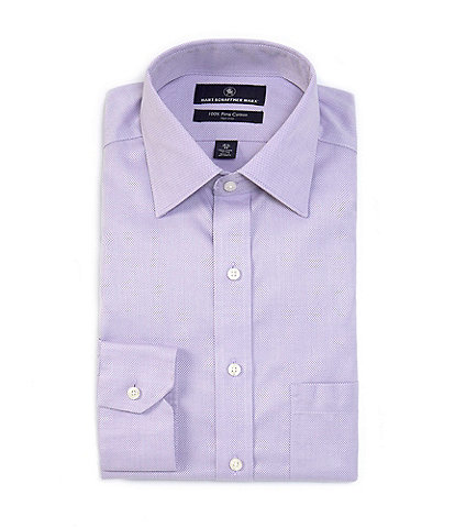 Hart Schaffner Marx Non-Iron Classic Fit Spread Collar Textured Solid Purple Dress Shirt