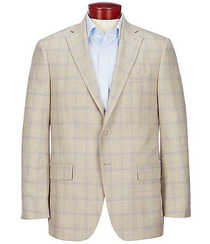 Hart Schaffner Marx Classic Fit Tan Plaid Wool Sportcoat