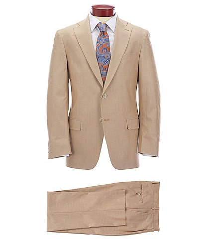 Hart Schaffner Marx Classic Fit Pleated Tan Solid Cotton Blend Suit