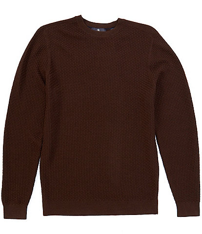 Hart Schaffner Marx Long-Sleeve Merino Wool Basketweave Sweater