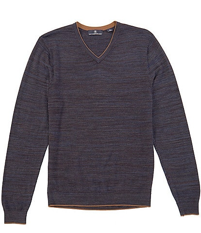 Hart Schaffner Marx Long-Sleeve Merino Wool Spacedye V-Neck Sweater