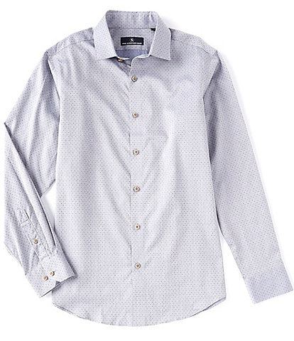Hart Schaffner Marx Long Sleeve Spread Collar Checked Dobby Sportshirt