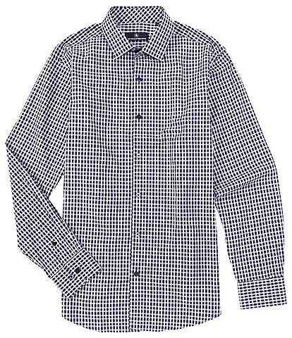 Hart Schaffner Marx Long Sleeve Spread Diamond Jacquard Sportshirt