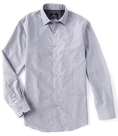 Hart Schaffner Marx Long Sleeve Spread Solid Dot Dobby Sportshirt