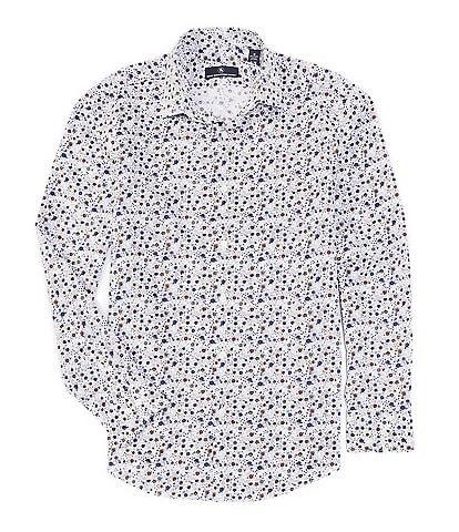 Hart Schaffner Marx Long Sleeve Spread White Floral Print Sportshirt