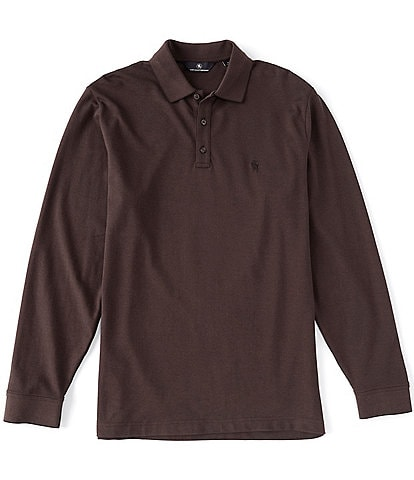 Hart Schaffner Marx Long-Sleeve Two Tone Pique Polo