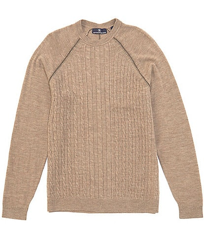 Hart Schaffner Marx Merino Wool Raglan Cable Knit Sweater