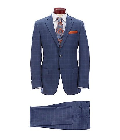 Hart Schaffner Marx Modern Fit Blue Plaid Wool Suit