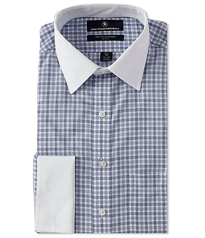 Hart Schaffner Marx Non-Iron Classic Fit Point White Collar Stripe Dress Shirt with French Cuffs