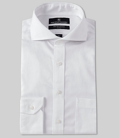 Hart Schaffner Marx Non-Iron Classic Fit Cutaway Spread Collar Textured Dress Shirt