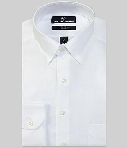 Hart Schaffner Marx Non-Iron Classic Fit Hidden-Button Down Collar Solid Basket Weave Dress Shirt