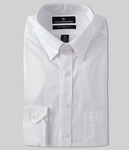 Hart Schaffner Marx Non-Iron Classic Fit Hidden-Button Down Collar Textured Dress Shirt
